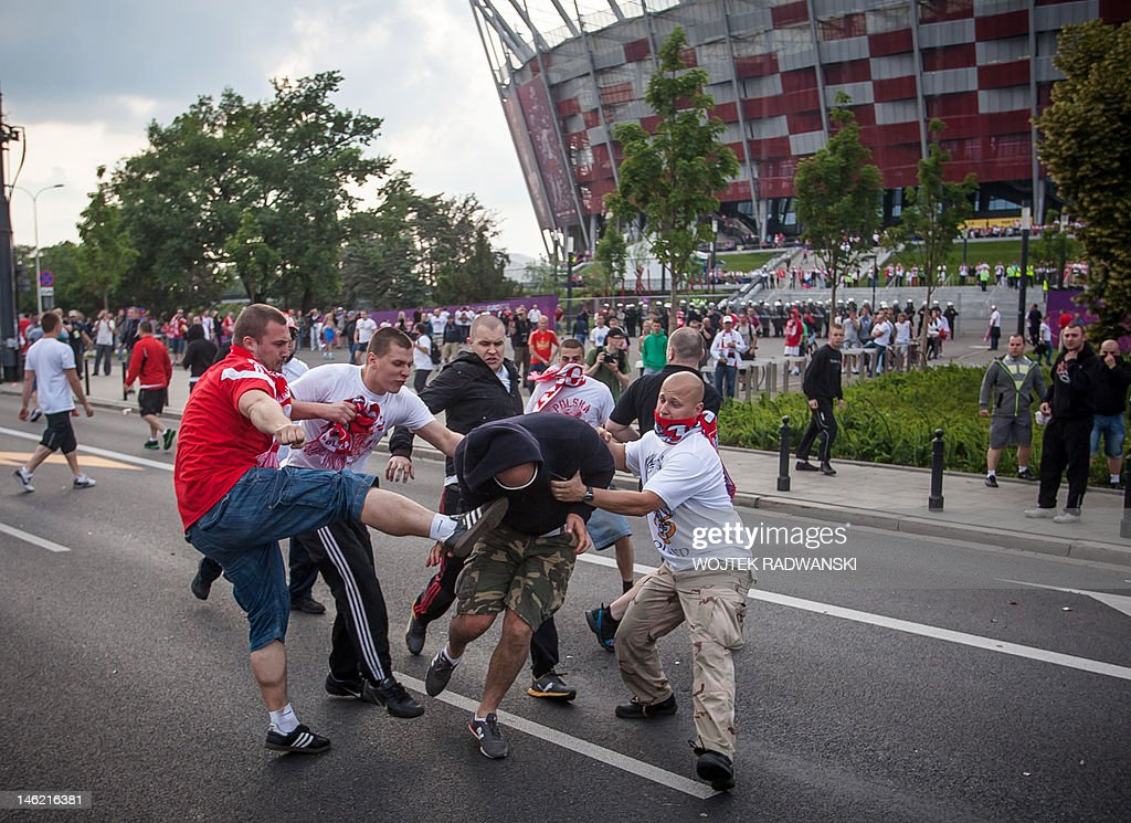 Polish and Russian football fans clash i : News Photo