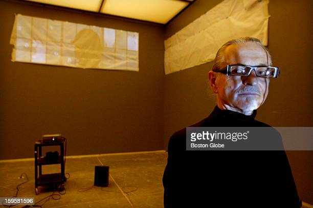 Polish artist Krzysztof Wodiczko during the installation of his projection-based show at the Institute Of Contemporary Art, focusing on the...