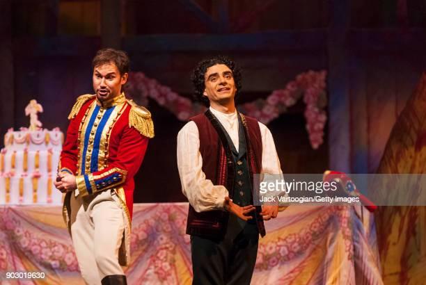 Polish baritone Mariusz Kwiecien and Mexicanborn French tenor Rolando Villazon perform during the final dress rehearsal of Act 2 of the Metropolitan...