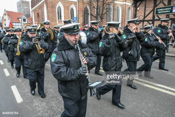 Polish Border Guard orchestra is seen during the Cursed soldiers Day parade on 26 February 2017 in Gdansk Poland The Cursed soldiers were a members...