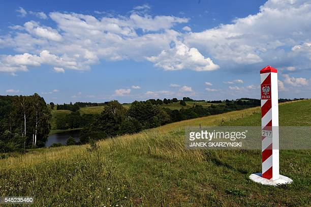 A Polish border post is pictured on July 3 2016 in Zerdziny northern Poland on the NATO nation's frontier with alliance partner Lithuania and...