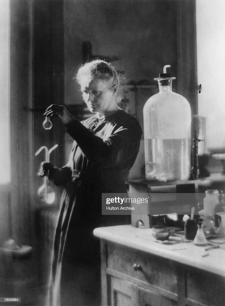 Polish born French physicist Marie Curie (1867 - 1934) in her laboratory.