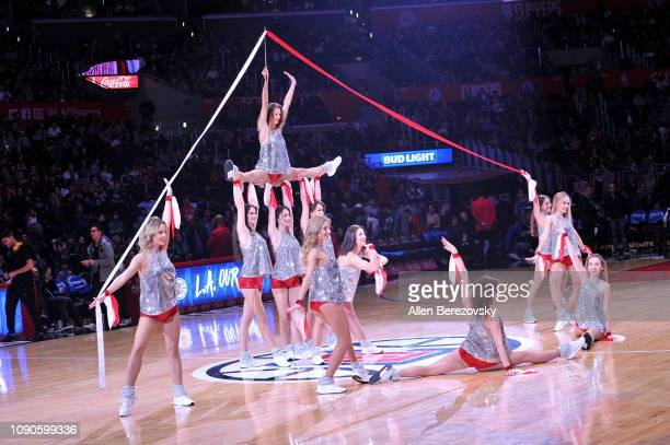 Polish cheerleaders perform at halftime of a basketball game between the Los Angeles Clippers and the Orlando Magic at Staples Center on January 06...