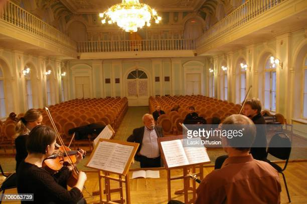 Polish classical music composer Krzysztof Penderecki at the International Cello Festival in memory of Mstislav Rostropovich in Moscow Russia on March...