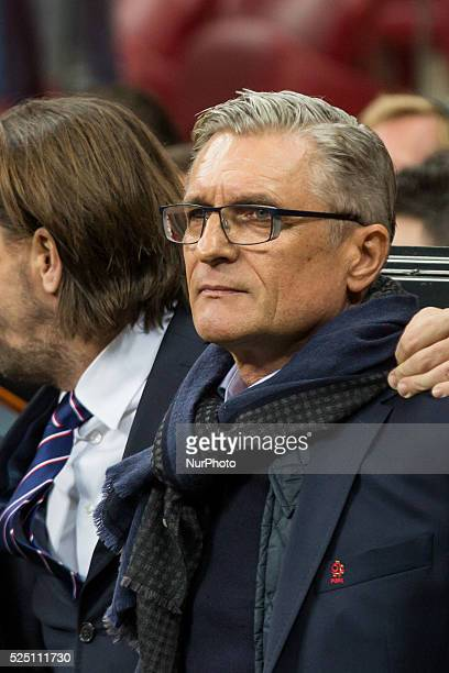 Polish coach Adam Nawalka during the friendly match between Poland and Iceland at the National Stadium on November 13 2015 in Warsaw Poland