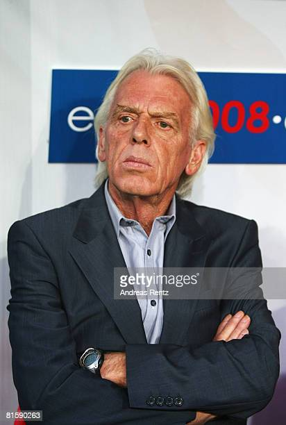 Polish coach Leo Beenhakker during the UEFA EURO 2008 Group B match between Poland and Croatia at Worthersee Stadion on June 16, 2008 in Klagenfurt,...
