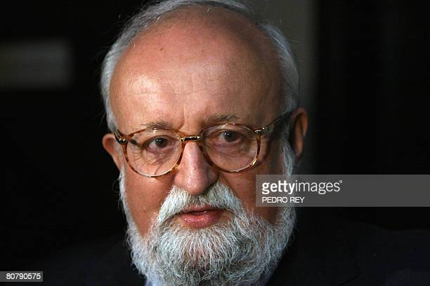 Polish composer Krzysztof Penderecki attends a concert of the Venezuelan Youth Symphony Orchestra in honor to him on April 20 2008 in Caracas AFP...