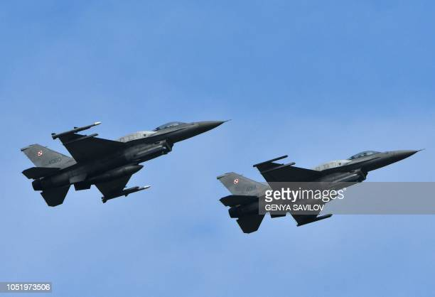 Polish F16 fighters flight during an air force exercises on Starokostyantyniv military airbase on October 12 2018 The largescale air force exercises...