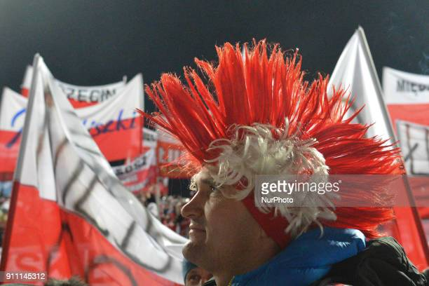 Polish fans during the Large Hill Team competition at the FIS Ski Jumping World Cup in Zakopane Poland On Saturday 27 January 2018 in Zakopane Poland
