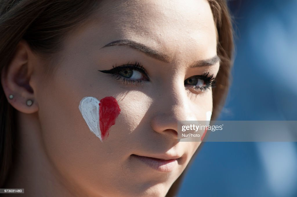 Polish fans gather at the National Stadium in Warsaw, Poland on June 12, 2018. Poland is one of the surprising qualifiers and hopefuls for the upcoming FIFA World Cup in Russia.