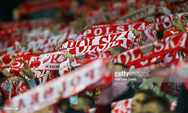 Polish fans show their support during the International Friendly match between Poland and Australia at the Wisla Krakow Stadium on September 7 2010...