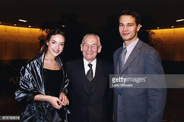 Polish film director Andrzej Wajda poses with Alicja BachledaCurus and Michal Zebrowski at French premiere of the film Pan Tadeusz Paris France 16th...