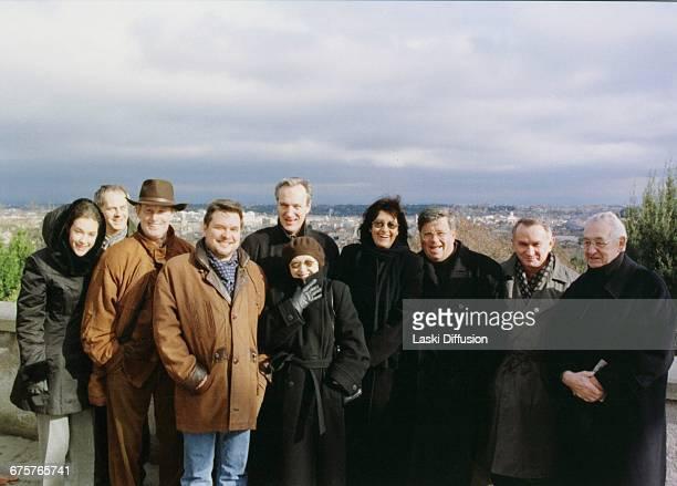 Polish film director Andrzej Wajda with 'Pan Tadeusz' cast and producer Alicja BachledaCurus Daniel Olbrychski Krystyna Zachwatowicz Lew Rywin Rome...