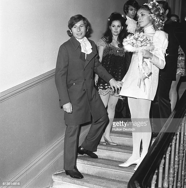Polish film director Roman Polanski with his wife actress Sharon Tate. Following their wedding in Chelsea, London, 1960.