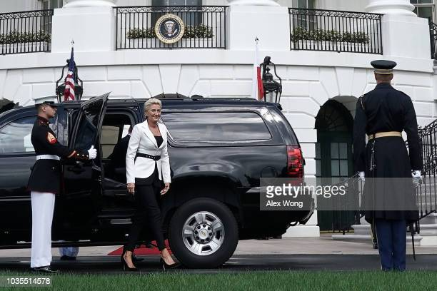 Polish first lady Agata KornhauserDuda arrives at the South Portico of the White House September 18 2018 in Washington DC While US President Donald...