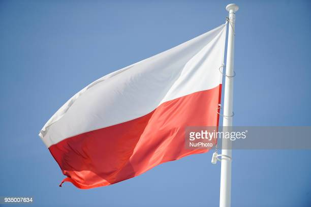 A Polish flag is seen at Pilsudski Square in Warsaw Poland on March 17 2018 On Pilsudski Square a sizeable and controversial monument is under...