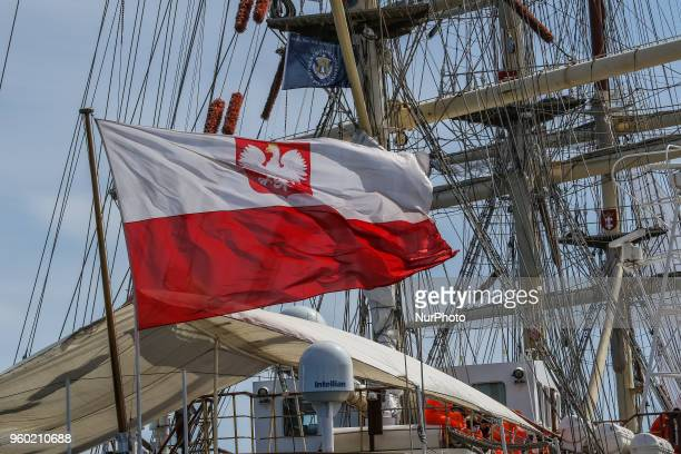 Polish flag on the wind at the STS Dar Mlodziezy sail training ship is seen in Gdynia Poland on 19 May 2018 Dar Mlodziezy first Polishbuilt...