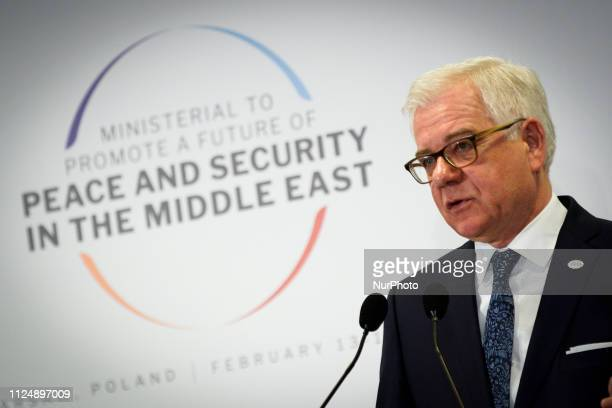 Polish FM Jacek Czaputowicz is seen at the final press conference of the Middle Easat summit in Warsaw Poland on February 14 2019 The summit in which...