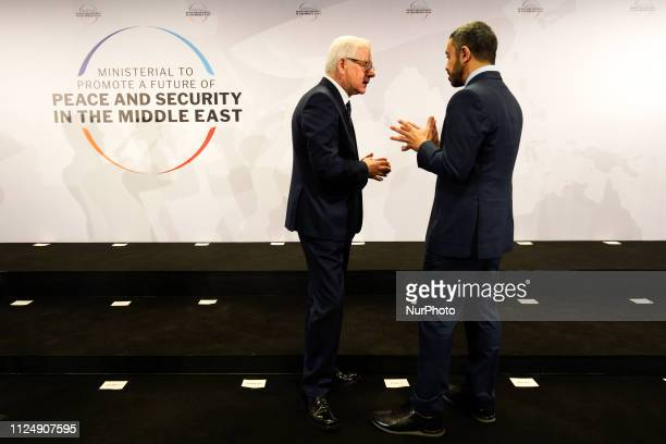 Polish FM Jacek Czaputowicz is seen speaking with Emirates FM Abdullah bin Zayed bin Sultan Al Nahyan at the National Stadium in Warsaw Poland on...