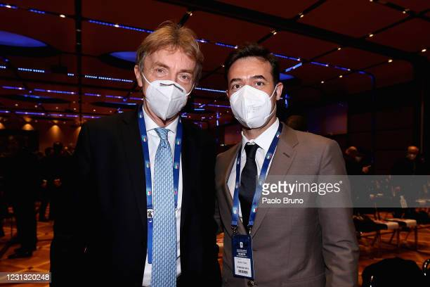 Polish Football Association President Zbigniew Boniek and AS Roma Sport Director Tiago Pinto attend the FIGC Elective Assembly at Cavalieri Waldorf...