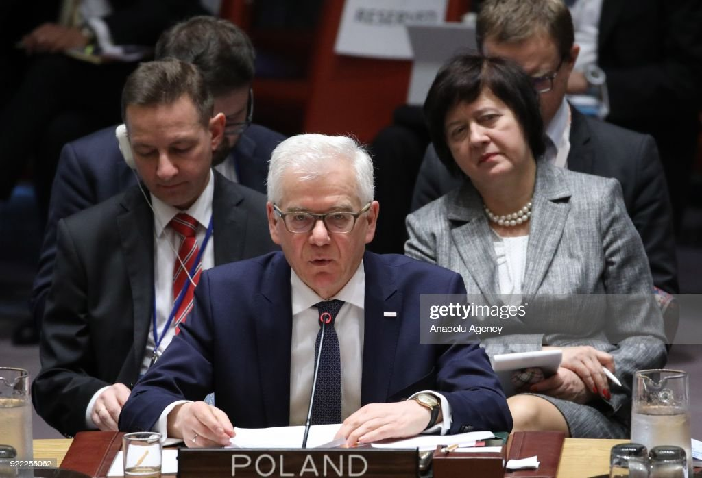 Polish Foreign Minister Jacek Czaputowicz (front) makes a speech as he attends the United Nations Security Council meeting, held with the agenda for ensuring international peace and security, in New York, United States on February 21, 2018.