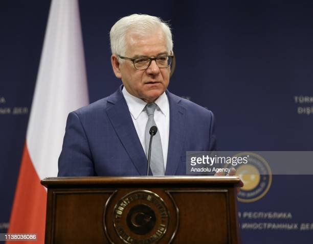 Polish Foreign Minister Jacek Czaputowicz speaks during a press conference with Turkish Foreign Minister Mevlut Cavusoglu and Romanian Foreign...