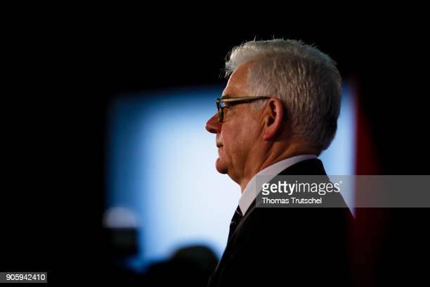 Polish Foreign Minister Jacek Czaputowicz speaks to the media on January 17 2018 in Berlin Germany