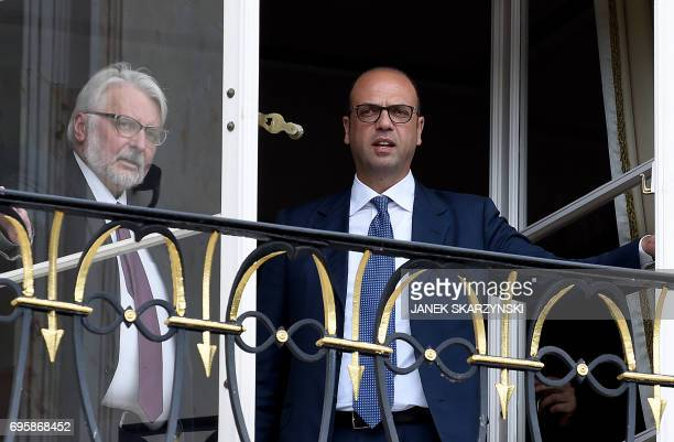 Polish Foreign Minister Witold Waszczykowski and his Italian couterpart Angelino Alfano meet at the Palace on the Isle in Warsaw's Lazienki Park on...