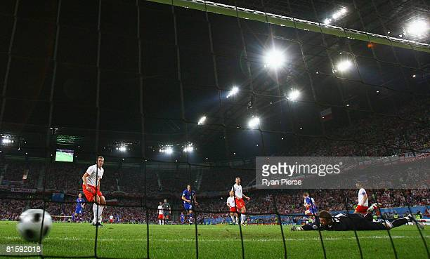 Polish goalkeeper Artur Boruc cannot stop the ball from crossing the goal line after Croatia's Ivan Klasnic hit it during the UEFA EURO 2008 Group B...