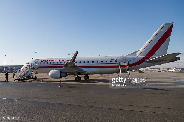 Polish Government Embraer E175 at Okecie Military Airport on November 29, 2015 in Warsaw, Poland.