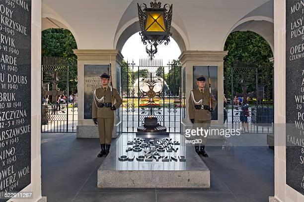polaco guarda de honra, no túmulo do soldado desconhecido - varsóvia imagens e fotografias de stock