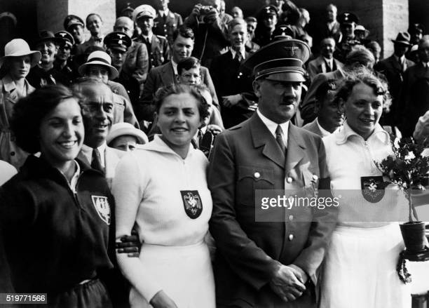 Polish javelin bronze medalist Maria Kwasniewska German javelin silver medalist Luise Kr��ger and German gold medalist Ottilie Tilly Fleischer...