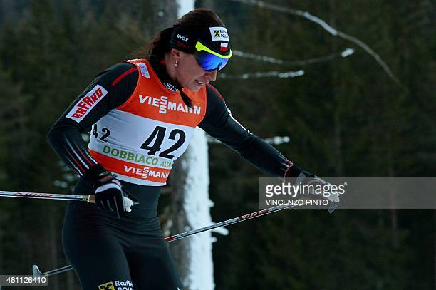 Polish Justyna Kowalczyk 5th competes during the women's 5 km Individual classic style competition of the Tour de Ski Cross Country World Cup on...