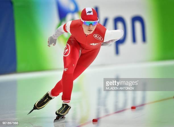 Polish Karolina Bosiek skates during the 3000m women race of the European Speed Skating Championship in Kolomna on January 6 2018 / AFP PHOTO /...