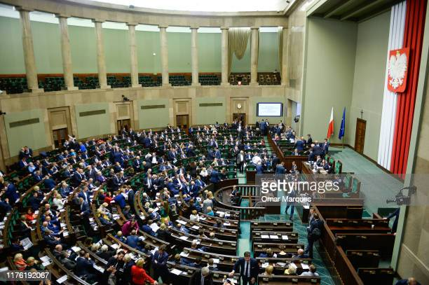 Polish lawmakers attend a voting session in lower house during the last session of 86th sitting of the Sejm on October 16 2019 in Warsaw Poland The...