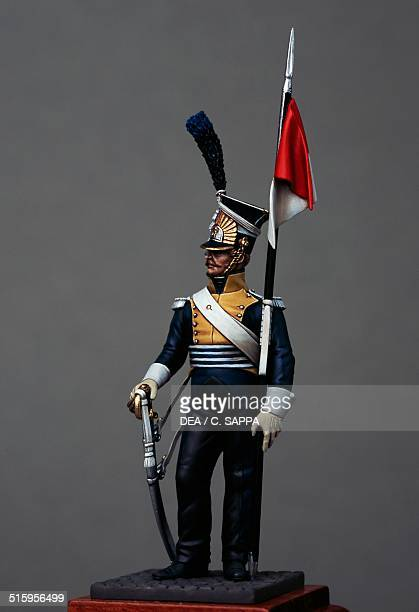 Polish line light cavalry lancer of the 7th Regiment 54 cm toy soldier from the Napoleonic era made by Bruno Leibovitz Metal Modeles series France...