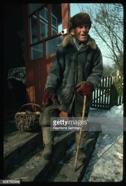 polish man outside home - bialowieza forest stock pictures, royalty-free photos & images