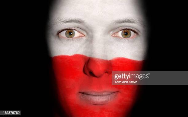 Polish Man with flag of Poland on face