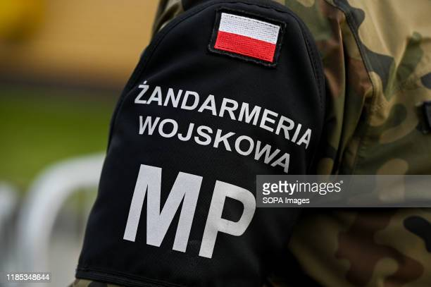 Polish Military logo seen during the 101st anniversary of the creation of the Polish Navy During the ceremony for the first time war flag of an ORP...
