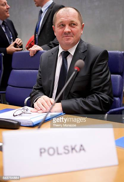 Polish Minister of Agriculture Rural Development Marek SAWICKI is waiting for the start of an Agriculture Council