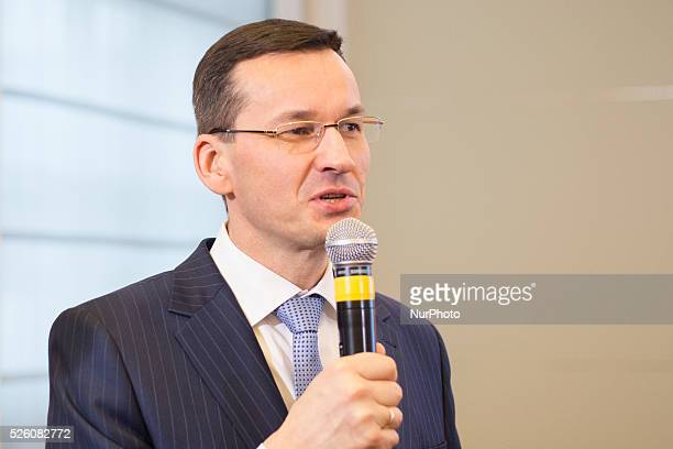 Polish Minister of development Mateusz Morawiecki during press conference at the Chancellery of the Prime Minister on 16 February 2016 in Warsaw,...