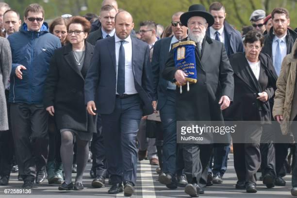 Polish minister of Education Anna Zalewska Israeli minister of Education Naftali Bennett and Rabbi Yisrael Meir Lau the Chief Rabbi of Tel Aviv and...