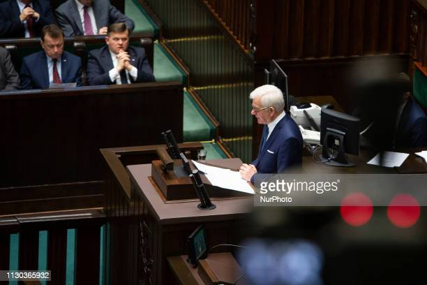 Polish Minister of Foreign Affairs Jacek Czaputowicz during his annual sttement at Sejm in Warsaw Poland on 14 March 2019
