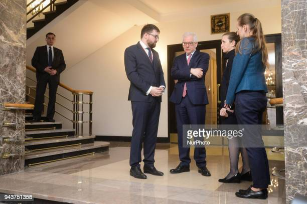 Polish Minister of Foreign Affairs Jacek Czaputowicz is seen awaiting the arrival of EC Vice Presidetn Frans Timmermans in Warsaw Poland on April 9...