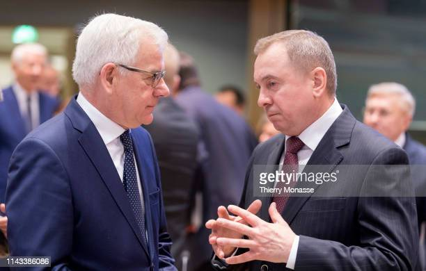 Polish Minister of Foreign Affairs Jacek Czaputowicz is talking with the Belarussian Minister of Foreign Affairs Vladimir Makei prior to an EU...