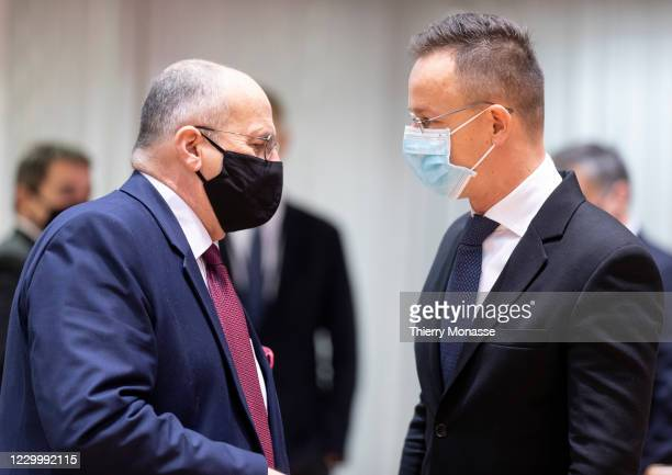 Polish Minister of Foreign Affairs Zbigniew Rau is talking with the Hungarian Minister of Foreign Affairs & External Economy Peter Szijjarto prior an...
