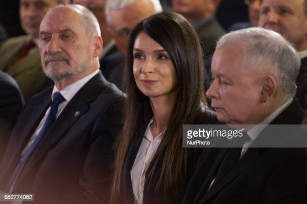 Polish minister of national defence Antoni Macierewicz Leader of Polish now ruling conservative 'Law and Justice' party Jaroslaw Kaczynski and Marta...