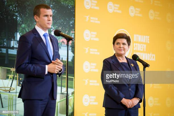 Polish minister of sport and tourism Witold Banka and Prime Minister of Poland Beata Szydlo in Warsaw Poland on 21 September 2017
