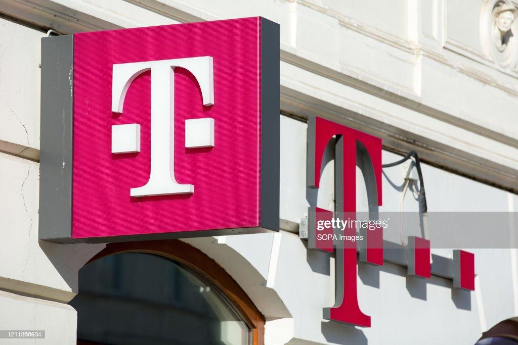 A Polish mobile phone network operator, T-Mobile logo seen... : News Photo