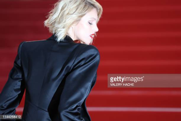 Polish model Anja Rubik poses as she arrives for the screening of the film Dolor Y Gloria at the 72nd edition of the Cannes Film Festival in Cannes...